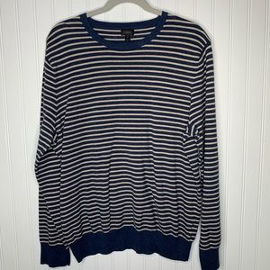 J. Crew striped cotton cashmere mens sweater XL
